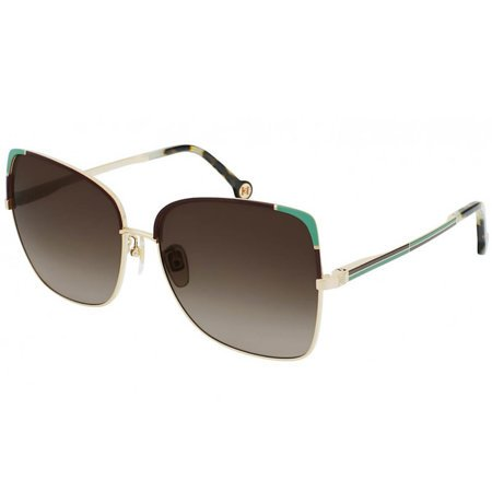 Carolina Herrera metalowe okulary przeciwsłoneczne złote z miętowymi zdobieniami