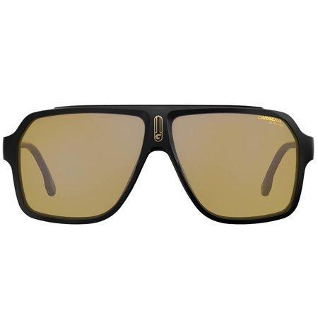 Carrera okulary przeciwsłoneczne męskie w typie pilotki, duże brązowe szkła i czarna ramka