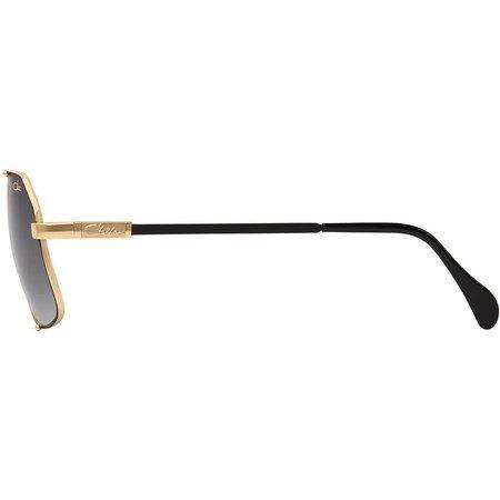 Cazal designerskie okulary przeciwsłoneczne, duże szare szkła ze złotymi zdobieniami