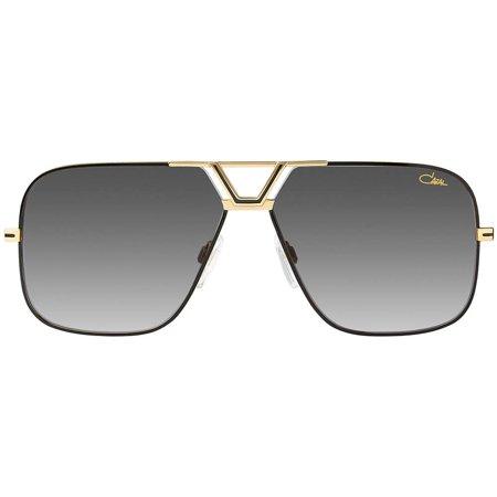 Cazal oryginalne okulary przeciwsłoneczne z delikatną złoto-czarną ramką i logo na soczewce