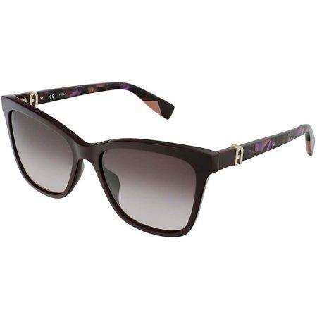 Furla klasyczne damskie okulary przeciwsłoneczne w kolorze ciemnej śliwki