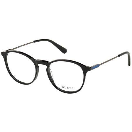 Guess błyszczące czarne okrągłe okulary dla mężczyzn GU 1993 001