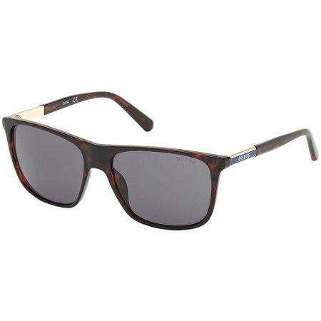 Guess okulary przeciwsłoneczne prostokątne w kolorze szylkretowym z czerwonymi refleksami
