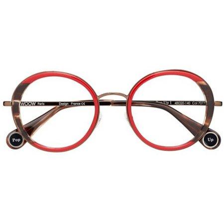 Owalne damskie okulary w barwach czerwieni i brązu WOOW POP UP 1 7077