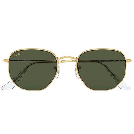 Ray-Ban hexagonalne okulary przeciwsłoneczne, z delikatną złotą oprawą i zielonymi szkłami